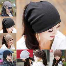 Women Unisex Baggy Beanie Xmas Knit Crochet Ski Hat Cap Scarf Hair Band 0043