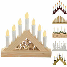 Pre-Lit Candle Bridge Window Table Christmas Decoration, White Red Gold Wooden
