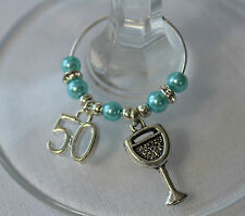 50th Party charm - birthday gift / wine glass charms