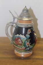 """Vintage German Beer Stein """"Stay Young in Heart"""" Fatboy Style,W/Tyrolean Couple"""