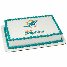 Miami Dolphins NFL edible image cake topper frosting personalized icing #35398