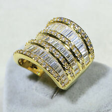 18K Yellow Gold Filled CZ Lady Fashion Jewelry Baguette Wide Ring R2527 Size5-10