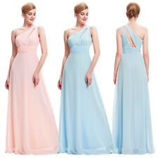 Womens Formal One Shoulder Party Dress Chiffon Bridesmaid Ball Gown Evening Prom