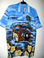 NWT youth boys WOODY CAR OCEAN SCENE  HAWAIIAN SHIRT BLUE size XL