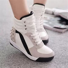 Women Sneakers Sports Comfort Rivet Hidden Wedge Heel High Top Shoes Cheap Great