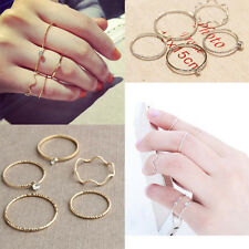 Charm 5PCS/Set Rhinestone Midi Above Stack Knuckle Rings Gold/Silver Stacking