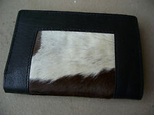 Fur Wallet Genuine Leather Hand Craft Bifold with Real Cow Hair Skin Fur Purse