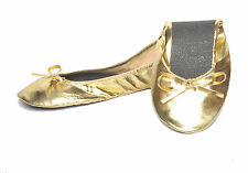 New Foldable / Rollable Gold Ballet flats with bag. S,M,L,XL 5,6,7,8,9,10 US/AU
