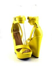 Yellow Awesome Simply Chic Ankle Wrapped Look Tall Wedge Sandals Closed Back