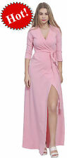 PINK MAXI FULL LENGTH WRAP DRESS LONG SLEEVE CROSSOVER DRESSES CASUAL ALL SIZES