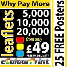 DL, A6, A5 or A4 Printed Colour leaflets / flyers on 150gms