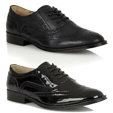 WOMENS FLAT SHOES LADIES GIRLS LACE UP SMART OFFICE VINTAGE BROGUE SHOES SIZE