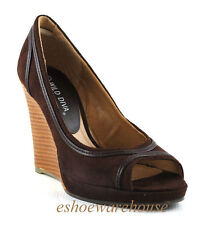 Soo Sexy Curvy Piping Open Toe Wedge Pumps Shoes Brown