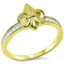 Irish Symbol Fleur De Lis Ring Solid 925 Sterling Silver Yellow Gold Russian CZ