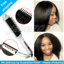 LCD Hair Straightener Brush Electric Straightening Comb Iron Ceramic Heat AU