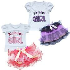 2PCs Baby Girls Outfit Top T-shirt Tutu Skirt Ruffle Dress Birthday Gift Party