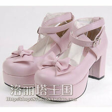Lolita Shoes Round Toe lovely Bowknot Princess High-heeled Shoes free shipping
