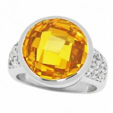 Solitaire Cocktail Ring Sterling Silver 13.50CT Faceted Round Citrine Russian CZ