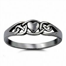 Celtic Knot Simple Plain Heart Promise Ring Solid 925 Sterling Silver Valentines