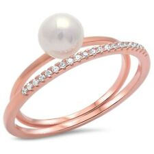 Trendy Wedding Ring 925 Sterling Silver Rose gold Fresh Water Pearl Russian CZ