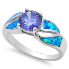 Solitaire Wedding Ring 925 Sterling Silver 1.10CT Blue Opal Synthetic Tanzanite
