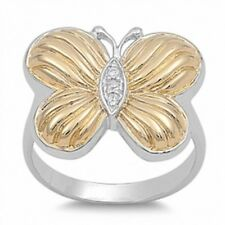 2 Tone Cute Butterfly Ring Solid 925 Sterling Silver 14K Yellow Gold Russian CZ