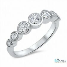 Hot Trend Fashion Ring  Bubble Bezel Solid 925 Sterling Silver Round Russian CZ