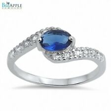 Wedding Engagement Ring Solid 925 Sterling Silver Oval Blue Sapphire Russian CZ