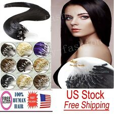 100% Indian Remy Human Hair Extensions Micro Ring Beads Loop Tipped Hair US Ship