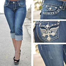 DARK BLUE LA IDOL CAPRIS WITH CROSS WING DESIGN AND RHINESTONES 2985CP SIZE 15