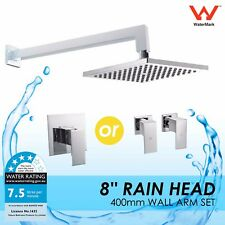 "WELS 8"" Sqaure Rain Shower Head Rose Brass Cubic Wall Shower Arm & Mixer/Tap Set"