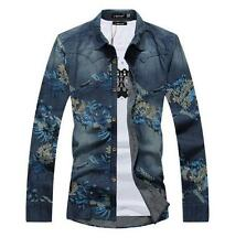 Hot  New  Mens Spring Fashion Floral Denim Long Sleeve T-shirt Out Wear Coats Sz