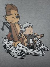 STAR WARS FORCE AWAKENS Han Solo Chewbacca Calvin Hobbes Old Womens T-Shirt S-XL