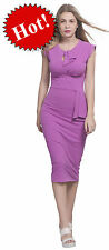 MARYCRAFTS VIOLET WOMENS VINTAGE PIN UP WIGGLE 1950'S BODYCON MIDI EVENING DRESS
