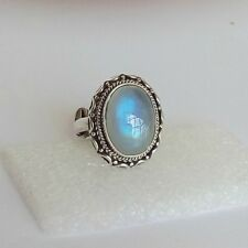925 Solid Sterling Silver Natural Rainbow Moonstone New Jewelry Ring US-4 to 13