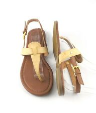 Natural Tan Leatherette Cutie Chic T Strap Flat Gladiator Sandals Shoes