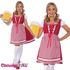 Ladies Red Beer Maid Wench Oktoberfest Costume Gretchen German Fancy Dress Up