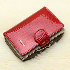 Women's Genuine Patent Leather Short Zip Wallet Money Card Holder Purse Billfold
