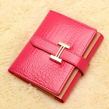 Drew-string Women's Ladies Genuine Leather Clutch Short Wallet Card Holder Purse