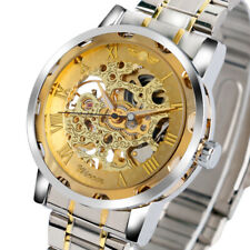 WINNER Stainless Steel Men Women Wrist Watch Mechanical Hand-Winding Luxury Gift