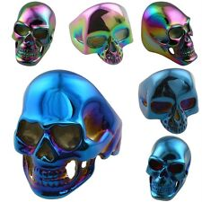 316L Stainless Steel Skull Head Skeleton Punk Gothic Finger Ring Blue/Rainbow