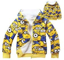 Minions Despicable Me Kids Boys Girls Thick Warm Winter Hoodie Zip Coats Jumper