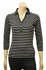 Womens Maine Polo T-Shirt Top Layered Black Grey Stripes Size 6 to 22 Ladies A22