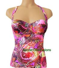 Victoria's Secret F/S Raspberry Ice Paisley Molded Cup Pushup Halter Tankini TOP