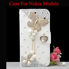 Diamonds butterfly tassel flower crown PU Leather Card Wallet Case Stand Cover