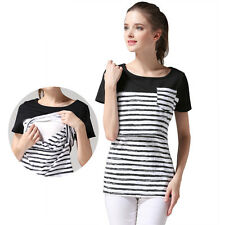 Summer Maternity T-Shirts Breastfeeding Clothes Short Sleeve Top Nursing Tops