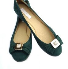 Womens Calf Leather Ballet Flats Shoes Rounded Green Nobuck Made in Brazil