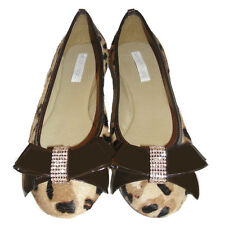 Ballet Calfhair leather Flats Shoes Rounded Toe Womens Animal Print bow crystal