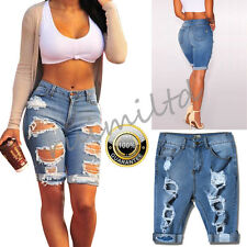 Womens High Waist Ripped Hole Washed Distressed Short Jeans Cut Denim Shorts UK