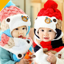 2016 Kid Baby Girl Boy Toddler Winter Warm Scarf Earflap Knitted Beanie Hat Caps